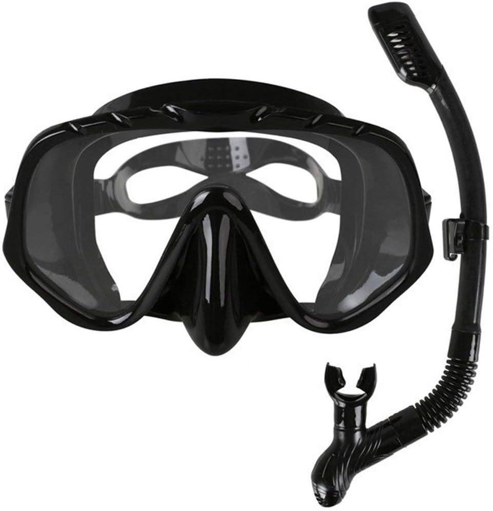 XiaoXiao Skuba Profesional Gafas de máscara de Buceo Amplia Visión Equipo Acuáticos con Anti-Niebla de una Pieza de Lente Submarino Gafas Buceo (Color : Black)