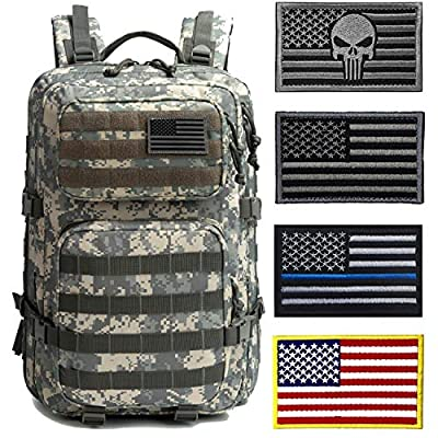 J.CARP Military Tactical Backpack Large 3 Day Assault Pack Army Molle Bug Out Bag, ACU with 4 Patches