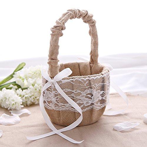 KateMelon Wedding Accessories Rustic Burlap and Lace Flower Girl Basket