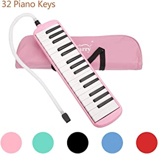 Glarry 32 Keys Melodica Musical Instrument for Music Lovers Gift with Two mouthpieces and Carrying Bag (Pink)