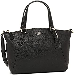 Coach Pebble Leather Mini Kelsey Satchel Crossbody Handbag, Black