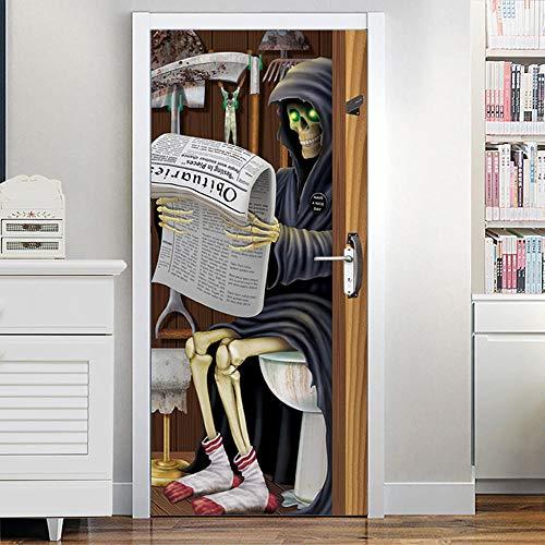 DNFurniture 3D-Türaufkleber Dekoration,Halloween Horror Kunst Gebäude Schädel Zeitung 80X200Cm Pvc-Wasserdichte Selbstklebende Aufkleber Für Wohnzimmer Kids Baby Kinder Abnehmbare Vinyl Tapete Art Hom