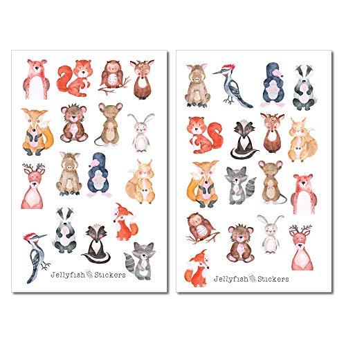 Waldtiere Sticker Set | Niedliche Aufkleber | Journal Sticker | Natur Sticker | Planersticker | Sticker Fuchs, Eichhörnchen | Sticker Tiere