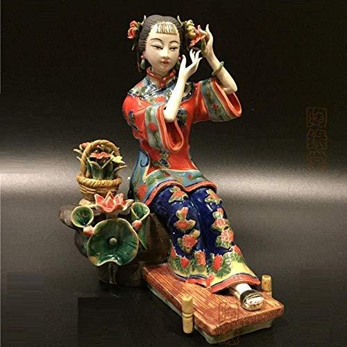 HJUYV-ERT Adornos Kit de estatuas y estatuillas Estatuilla Animal Cerámica Clásica Figura Femenina Pintada Ángeles Chinos Antiguos Dama Figuras de Porcelana Aciones