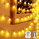 Globe String Lights, 40 LED 20 Feet 8 Modes Waterproof Battery Operated Fairy String Lights with Remote and Timer for Indoor Outdoor Christmas Birthday Party Garden Bedroom Decoration(Warm White)