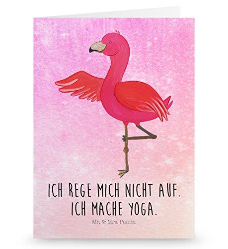 Mr. & Mrs. Panda Glückwunschkarte, Einladungskarte, Grußkarte Flamingo Yoga mit Spruch - Farbe Aquarell Pink