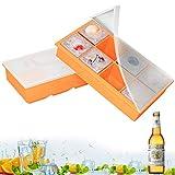 GoZheec Eiswürfelform mit Deckel, 2 Stück Eiswürfelschalen 8 Fach Silikon Eiswürfelbehälter LFGB Zertifiziert BPA Frei 5cm Eiswürfel Form für Bier, Whisky, Pudding oder Babynahrung (Orange)
