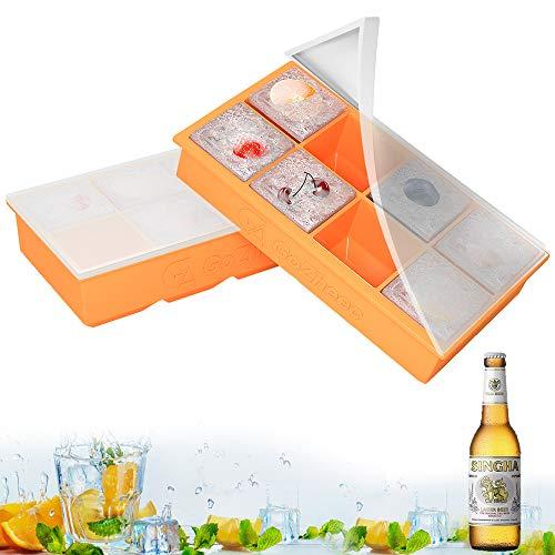 Bac à Glaçons en Silicone, 2 Pcs Moules à Glaçons Réutilisable avec 8 Compartiments, Moule de Cube de Glace avec Couvercle pour Eau, Cocktail, Whisky, Purées de bébé (Orange)