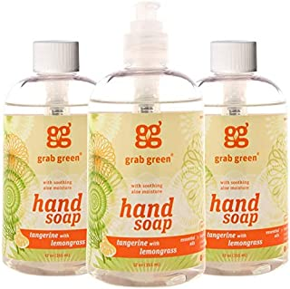 Grab Green Natural Hand Soap, Tangerine and Lemongrass, 12 Ounces Bottle, 3 Count