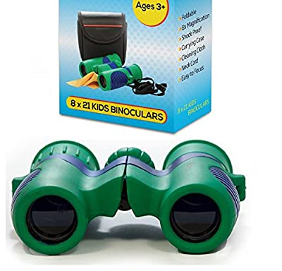 Kidwinz Original Compact 8x21 Kids Binoculars Set - High Resolution Real Optics - Shock Proof - Bird Watching - Presents for Kids - Children Gifts - Boys and Girls - Outdoor Play - Hunting - Camping