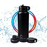 Hyydrate Sports Water Bottle - 40oz, 3 Lids, Vacuum Insulated Stainless Steel, Keeps Liquids Hot or Cold with Double Wall Vacuum Insulated, Simple Thermo Mug, Metal Canteen, Sweat Proof