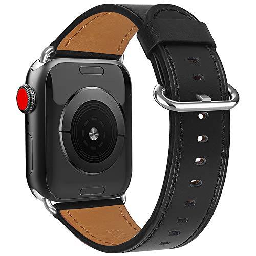 Uhrenarmband Leder, Mode-Uhrwristband Kompatibel Mit Apple-Uhr-Ersatz-Armband Quick Release Sport Uhrenarmbänder,Schwarz,38mm