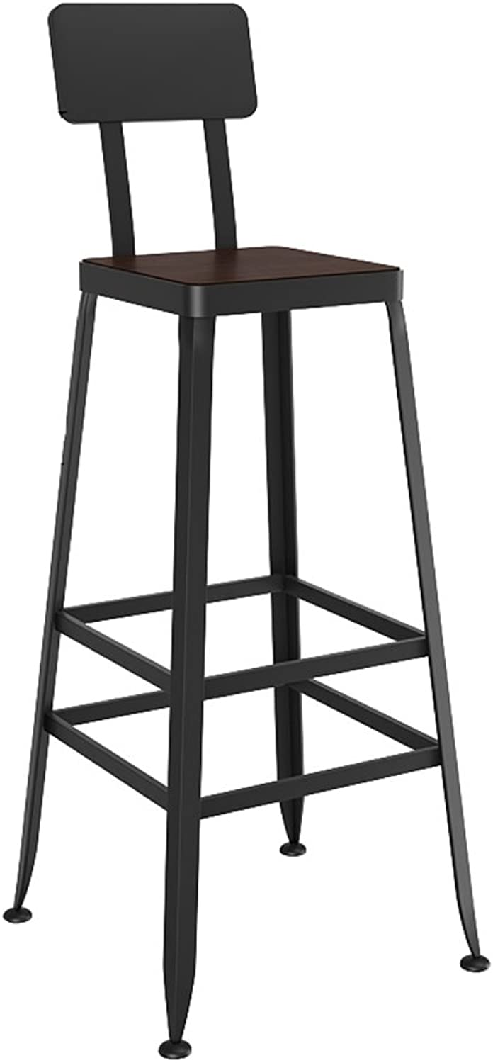Bar chair European Solid Wood bar chair Modern Minimalist Wrought Iron high Stool Bar Cafe Seat Chair with backrest (Multiple (color   C, Size   75CM)