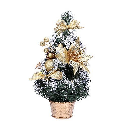 About1988 Mini Weihnachtsbaum, Kleine Weihnachten Schreibtisch Baum, Plastik, Grün, 30cm (Gold)