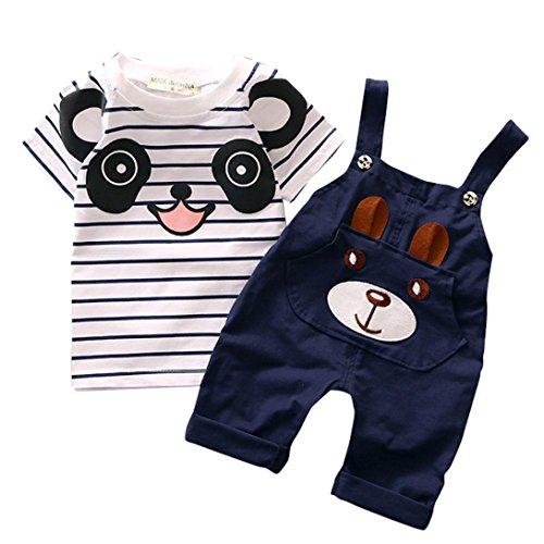 kingko® Toddler Straps Set bébé garçons Little Bear Stripe Manches Courtes Set (73, Gris)