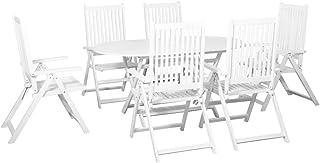 Festnight Conjunto de Muebles Terraza de Comedor de Jardín,Mesa y Sillas de Madera Maciza Acacia 7 pzas Blanco