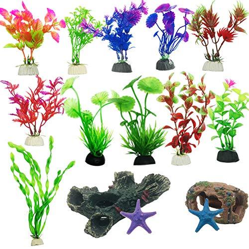 Cayway 15 Pz Acuario Plantas de Plástico, 11 Pz Acuario Plantas de Plantas Artificiales 2 Pz dorno de Acuario de Resina de Madera de Decoración para Acuarios y Pecera