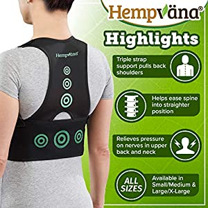 Hempvana Arrow Posture - Fully Adjustable Posture Support & Posture Corrector for Upper Body - Helps Correct Slouching, Text Neck and Hunching Over (S/M)