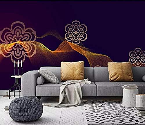 ZJfong foto behang 3D effect behang stijlvolle gouden lijn patroon ontwerp muurschilderingen behang decoratie 250 x 175 cm.