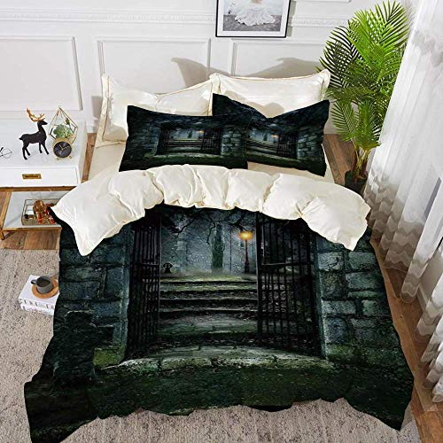 161 Gothic Decor,Illustration of the Gate of a Dark Old Haunted Cemetary Dead Myst Fiction,Hypoallergenic Microfibre Duvet Cover Set 200 x 200cm with 2 Pillowcase 50 X 80cm