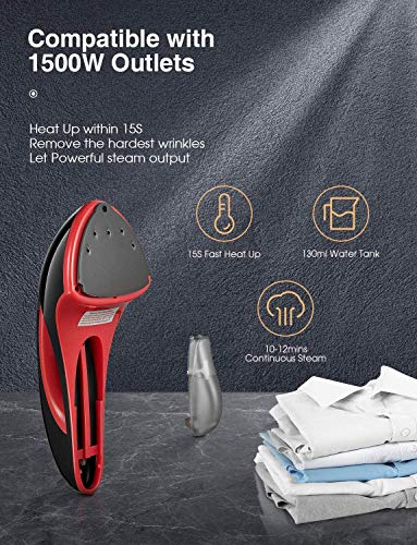 Steam Iron for Clothes, AICOK 1500W 15S Handheld Clothes Steamer, Vertical and Horizontal Steamer, Wrinkle-Remove Rocket, Pulse Boost Technology, Dual Steam Settings, Portable for Home and Travel
