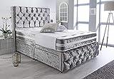 <span class='highlight'>Sleep</span> <span class='highlight'>Factory</span>'s Silver Crushed Velvet Chesterfield 2 Drawer Divan Bed Set, Mattress & Headboard 5.0FT (King)