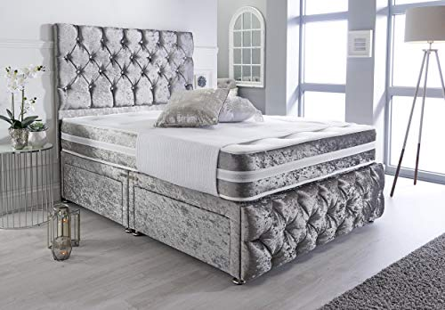 Sleep Factory's Silver Crushed Velvet Chesterfield 2 Drawer Divan Bed Set, Mattress & Headboard 4.0FT (Small Double)