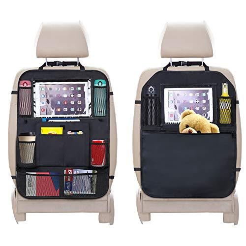 URAQT Auto Rückenlehnenschutz, 2 Stück Rücksitz Autositz Organizer für Kinder, Durchsichtigem iPad Tablet Halter, Autositz-Schoner wasserdicht, Kick Matten Schutz in universeller Passform