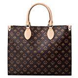 Womens Tote Handbag With Shoulder Strap Brand Foral Pattern PU Leather Top Handle Satchel Crossbody Shoulder Bags (Small Brown)