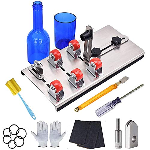 Bottle Cutter - Glass Bottles Cutter Bundle/Glass Cutting Tool Kit/Upgraded Glass Cutter Machine, 9 Pcs DIY Glass Bottle Crafts Production Cutting Set for Round, Oval Bottle