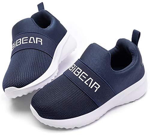 HOBIBEAR Kids Slip-on Sneakers Lightweight Breathable Boys Girls Mesh Athletic Running Shoes(GS/Blue,35/Little Kid 2.5)