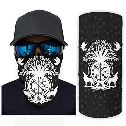 Multifuncional Headwear Bandana Viking Wolf Raven brújula bufanda para al aire libre pasamontañas resistencia UV blanco onesize