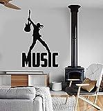 LKJHGU Vinyle Stickers muraux Mots de Musique Musicien Pop Rock discothèque Salon TV Fond Enfants Chambre décoration