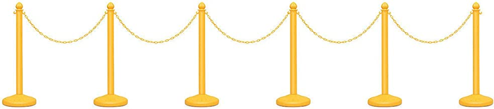 Goplus 6pcs Plastic Stanchion Set Crowd Control Stanchions Barriers Outdoor and Indoor Stanchions with 40
