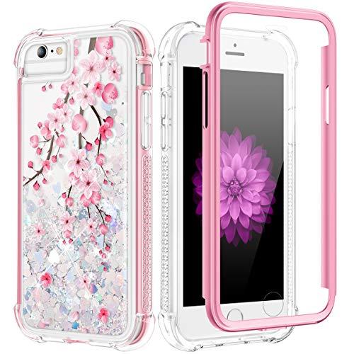 Caka - Funda con purpurina para iPhone 6S Plus, iPhone 6 Plus, 6S Plus, 7 Plus, 8 Plus, funda de flores líquidas, funda protectora para iPhone 6 Plus, 6S Plus, 7 Plus, 8 Plus, 5,5 pulgadas, diseño de flor de cerezo