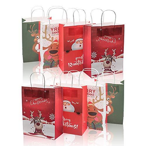 Derbway Borsa Regalo di Natale, 8PCS Custodia in Carta Natalizia Sacchetti Riutilizzabili per Bomboniere Festa Caramella con Manico (S)