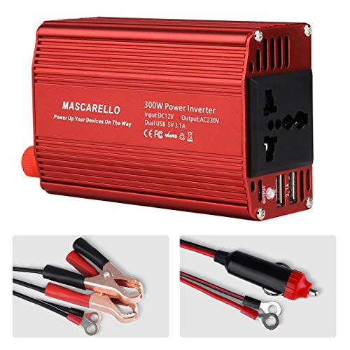 MASCARELLO 150W Car Power Inverter DC 12V to 220V 230V 240V AC Converter with AC Outlet and 5V/2.4A USB Car Charger for iPhone Laptop Notebook Camping Road Trip Must Have (300winverter-red)