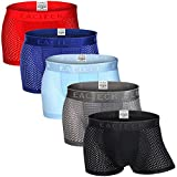 FZmix Boxer Homme Invisible sans Couture Boxer Respirant Shorties - Soie Glacée Engrener Slips - Ultra Cool et Confortable...