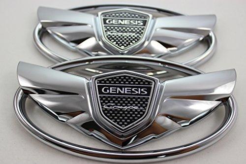 7pc Genesis Chrome Silver Wing Logo Badge Emblem Trunk Grille Lid Tail Gate Black Wheel Center Rim Cap Sticker Steering Combo Set Package 2010 2011 2012 2013 2014 2015