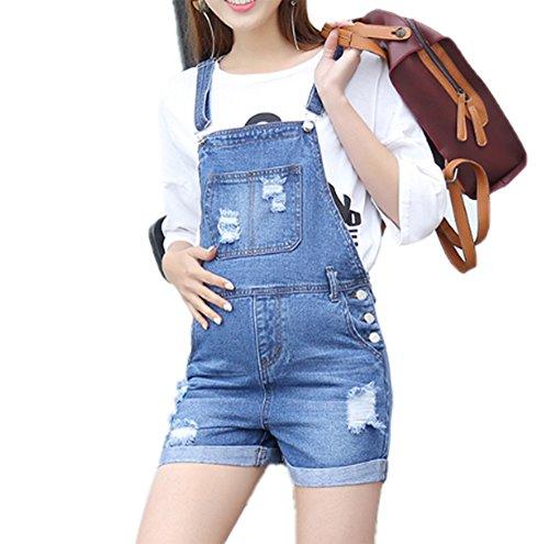 Hellomiko Shorts à la Mode de la Femme Enceinte Sangle Summer Cowboy Holes Jumpsuit