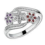 Amesii–Anello con fiori in argento Sterling 925anello con zircone intarsiato, gioielli per feste. e Lega, 7, colore: US 7, cod. AME