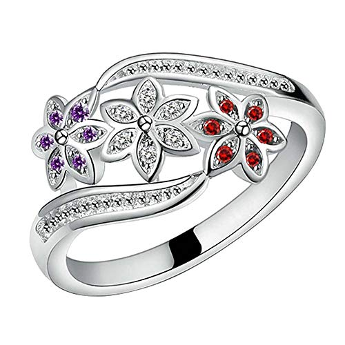 Amesii Women's Cute Flowers 925 Sterling Silver Ring Charm Zircon Inlaid Party Jewelry - Silver US 9