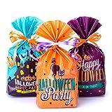 GWHOLE 72 Piezas Bolsa de Dulces Halloween con Cuerda, Bolso Divertido Halloween de Caramelo Galleta Regalo de Chocolate para Fiestas Bolsa de Calabaza