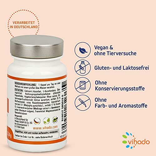 Vihado Vitamin-C hochdosiert – natürliches Vitamin C Kapseln (vegan) + Natur-Komplex mit Bioflavonoide, 30 Kapseln, 1er Pack (1 x 20,8 g) - 3
