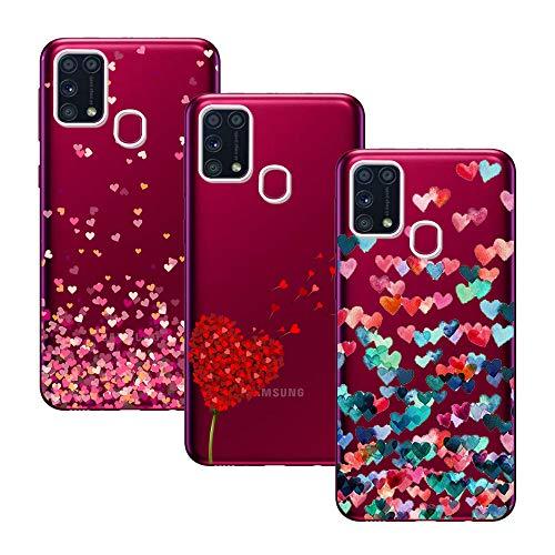 Young & Min Cover per Samsung Galaxy M31, 3 Pack Morbido Trasparente Silicone Custodie Protettivo TPU Gel Case, Amore