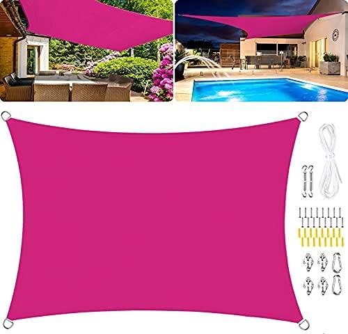 HYLX Toldo rectangular de vela de poliéster, impermeable, para jardín, 95 % UV, resistente al viento, kits de fijación, color rojo rosa