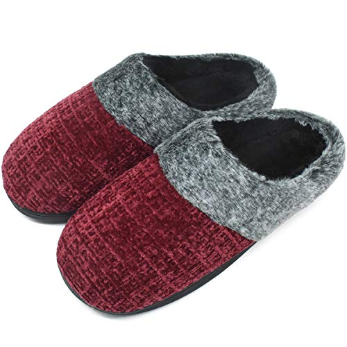 jiajiale House-Slippers-for-Women-Chenille-Women's-Scuff-Slippers Memory Foam Fuzzy Furry Womens Slip-on Mule House Shoes Faux Fur Fluffy Clog Slipper for Women Red