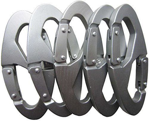 LeBeila 8 Shape Carabiner Aluminum Alloy Rope Buckle S Style Snap Clip Hook Keychain for Climbing, Hiking, Camping and Outdoor Livings (5 PCS)