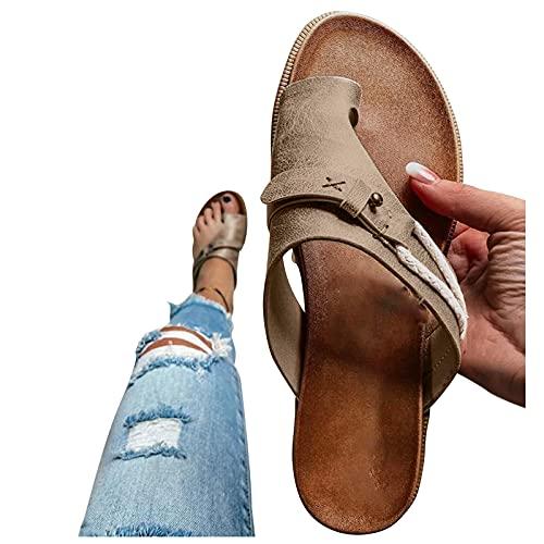 Chanclas planas para mujer, sandalias de dedos, chanclas de verano, zapatos informales, sandalias elegantes, sandalias romanas, sandalias de verano para la playa, caqui, 42