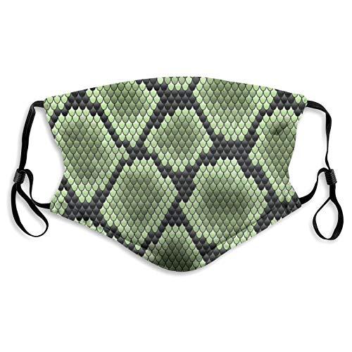 Lesif Mascarillas de tela de serpiente verde sobre negro para nariz y...